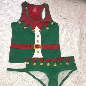 NWT Christmas Elf tank & brief pajama.